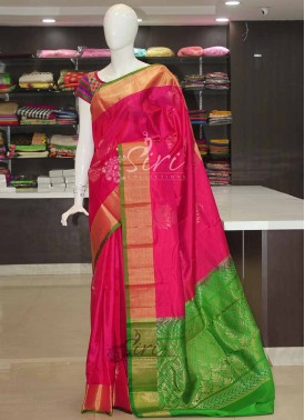 Pink Green Pure Handloom Silk Saree