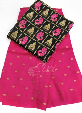 Pink Jute Silk Saree in Self  Zari Polka Dots