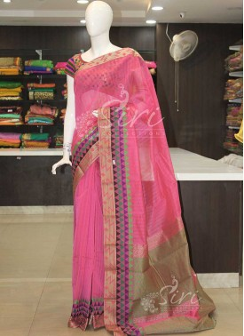 Pink Kuppadam Cotton Saree in Jute and Multi Colour Border