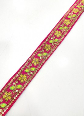 Pink Lace Trim Border in Cording and Embroidery Work
