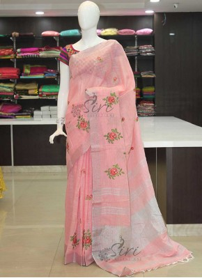 Pink Linen Saree in Embroidery Work Butis