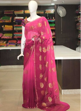 Pink Magenta Shaded Banarasi Georgette Saree
