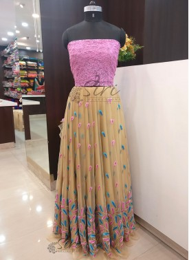 Pink Net and Gold Net in blue pink Embroidery Work Lehenga Crop Top Fabric Set