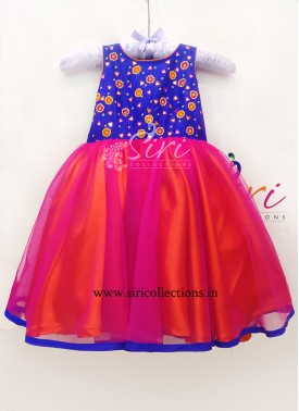 Pink Orange Blue Beautiful Kids Frock with Hand Work for One Year Old