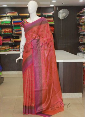 Pink Orange Double Shade Banarasi Cotton Silk Saree In Antique Zari