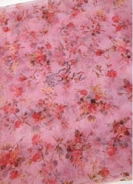 Pink Organza Fabric in Digital Print Per Meter