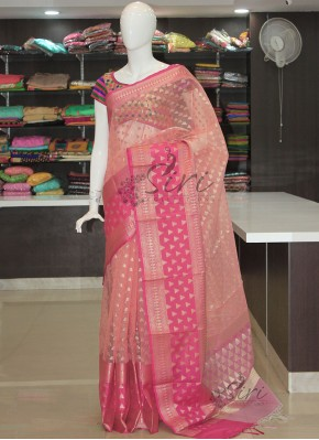 Pink Organza Saree in Rich Borders
