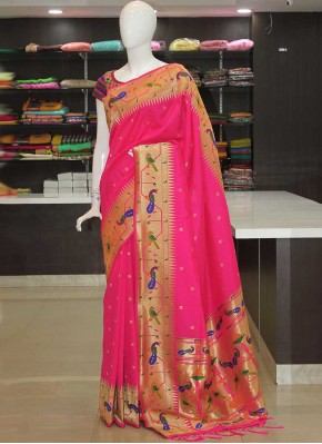 Pink Peacock Design Fancy Paithani Silk Saree