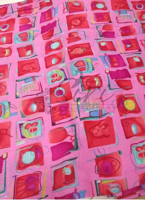 Pink Printed Cotton Fabric Per Meter