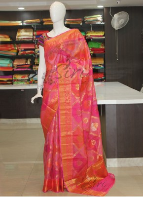 Pink Pure Designer Silk Kota Saree in Blow Print in Allover Design