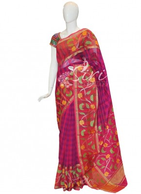 Pretty Pink Purple Pure Chanderi Seico Saree in Checks Design