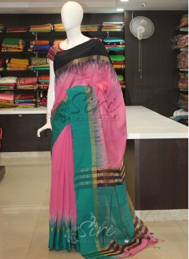 Pink Rama Green Black Ikat Design Bailou Saree
