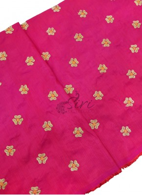 Pink Raw Silk Fabric in Embroidery Work Butis Per Meter