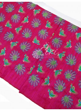 Pink Raw Silk Fabric in Embroidery Work Per Meter