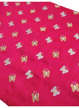 Pink Raw Silk Fabric in Gold and Silver Embroidery Work Per Meter