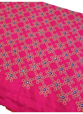Pink Raw Silk Fabric in Gold Embroidery and Mirror Work Per Meter