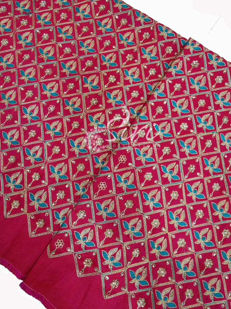 Pink Raw Silk Fabric in Gold Rama Blue Embroidery and Stone Work Per Meter