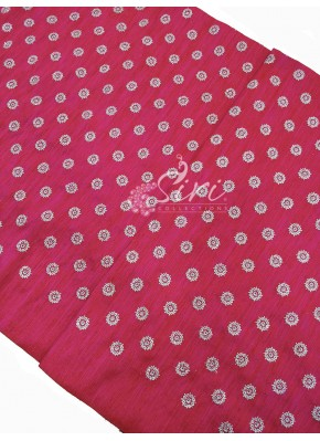Pink Raw Silk Fabric in Silver Sequins and Embroidery Work Butis Per Meter