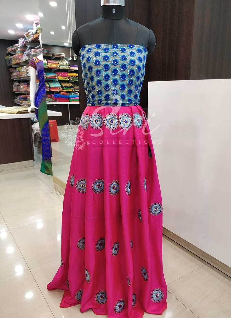 43fcf355488f6 Pink Raw Silk Lehenga Fabric and GolD Blue Net CropTop Fabric Set Zoom.  Exclusive