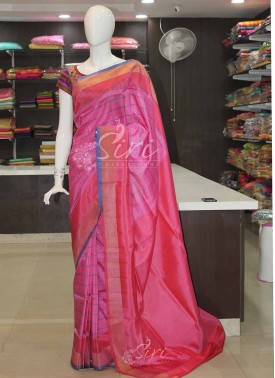 Pink Red Blue Checks Uppada Silk Saree