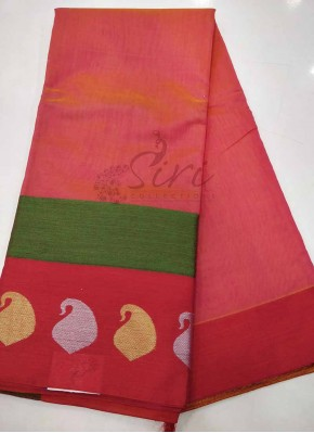 Pink Red Chanderi Saree