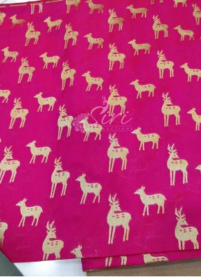 Pink Red Double Shade Banarasi Silk Fabric in Deer Design Butis Per Meter