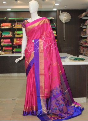 Pink Royal Blue Soft Silk Saree in Paisley Butis