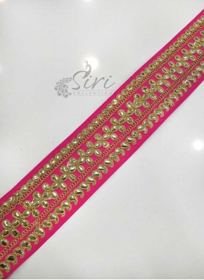 Pink Saree Border Lace in Gota Work