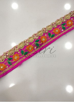 Pink Saree Border Lace in Stone and Embroidery Work