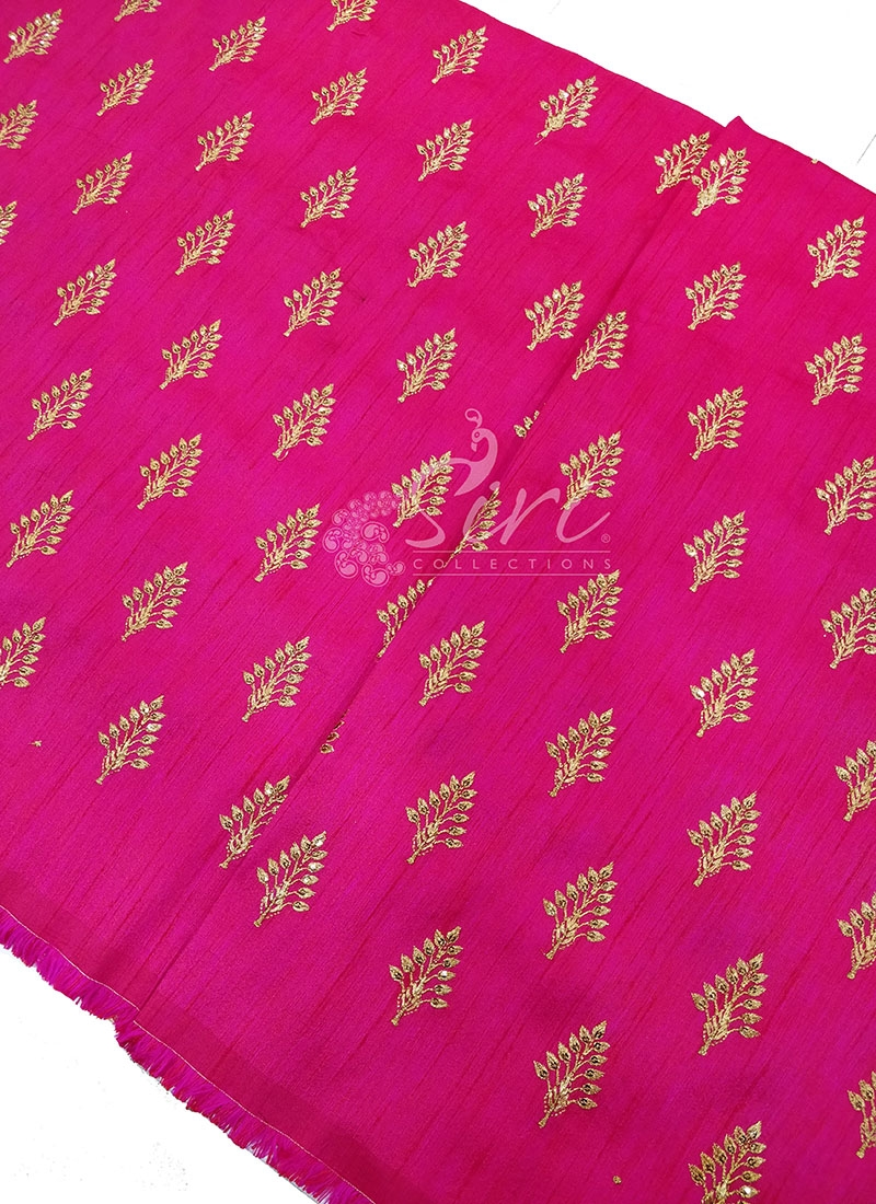 Pink Silk Fabric in Zari Embroidery and Sequins Butis Per Meter