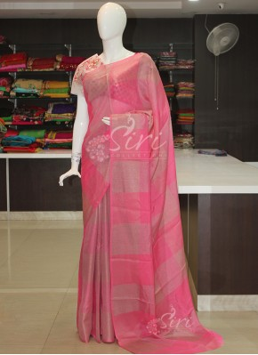 Pink Soft Jute Saree in Silver Gold Checks