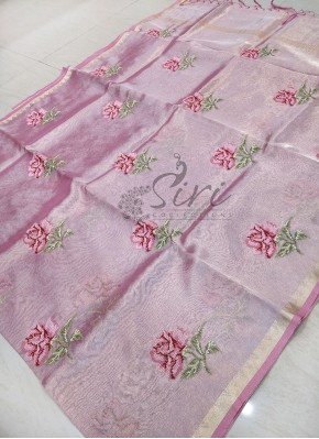 Pink Tissue Saree in Cross Stitch Embroidery Work Butis