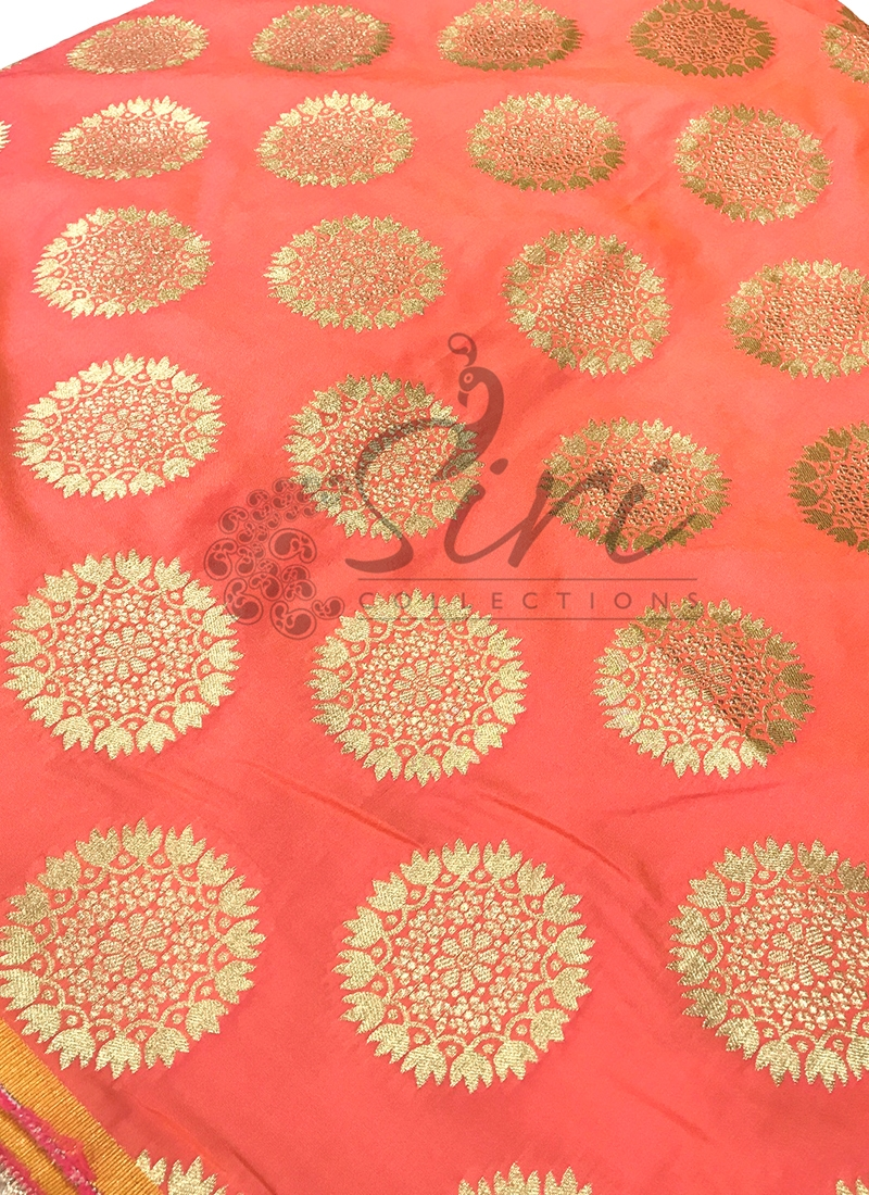 Pink Yellow Double Fancy Banarasi Silk Fabric By Meter