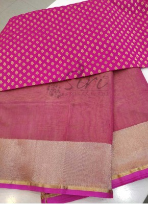 Pink Yellow Double Shade Pure Handloom Banarasi Net Saree