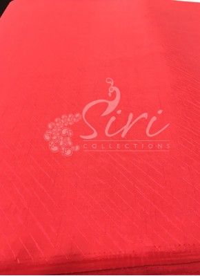 Pinkish Red Double Shade Soft Silk Fabric in Self Cross Lines Design Per Meter