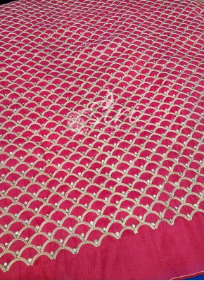 Pinkish Red Raw Silk Fabric in Gold Embroidery and Stone Work Per Meter