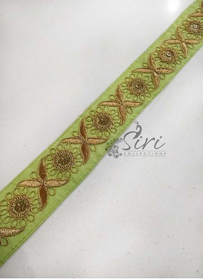 Pista Green Border Lace in Gold Embroidery Work