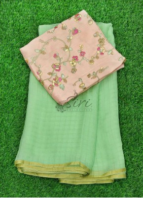 Pista Green Chiffon Saree in Zari Checks With Designer Blouse Fabric