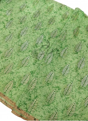 Pista Green Cotton Slub Fabric in Foil Print Per Meter