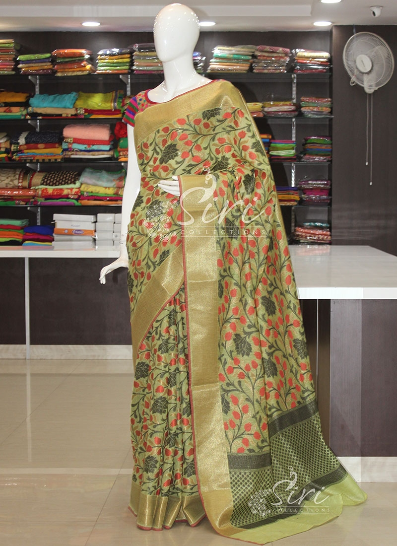 Pista Green Designer Jute Cotton Blend Saree in Allover Jaal