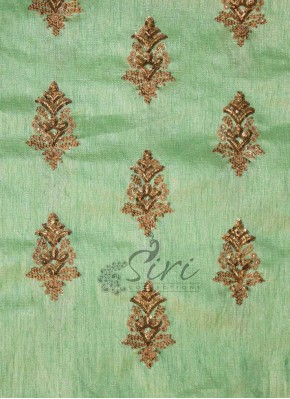 Pista Green Fine Raw Silk Fabric in Sequins and Embroidery Work by Meter
