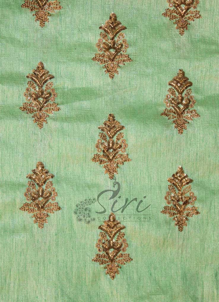 Pista Green Fine Raw Silk Fabric In Sequins And Embroidery