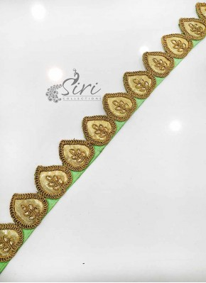 Pista Green Gold Fancy Cut Work Lace Border