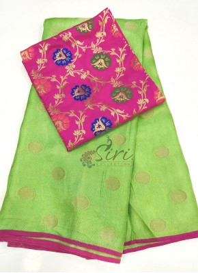 Pista Green Jute Silk Saree in Self Polka Dots Weave