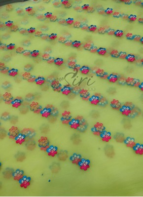 Pista Green Net Fabric in Embroidery Work Per Meter