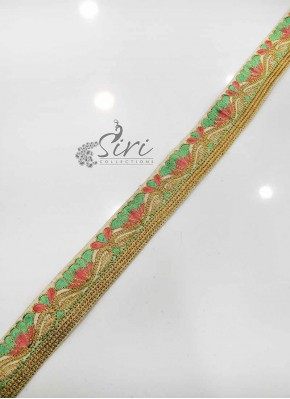 Pista Green Peach Gold Embroidery Work Lace Border