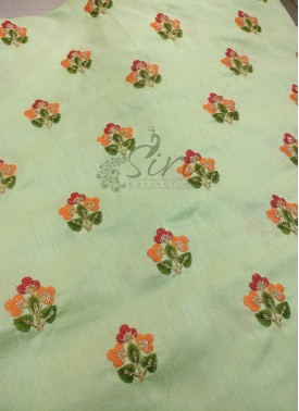 Pista Green Raw Silk Fabric in Embroidery Work But