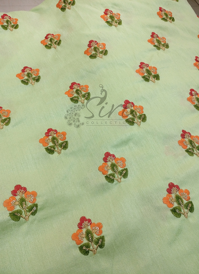 Pista Green Raw Silk Fabric in Embroidery Work Butis Per Meter