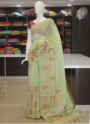 Pista Green Soft Chanderi Saree in Embroidery Work Butis