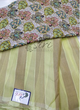 Pista Green Yellow Georgette Saree in Self Soft Jute Stripes with Designer Blouse